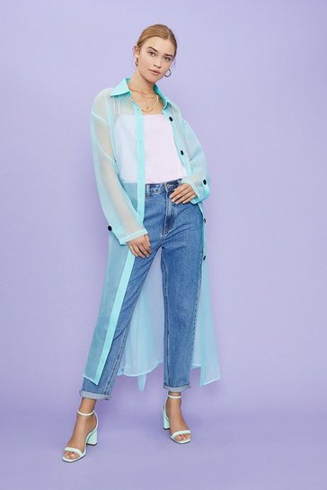 Mint Belted Organza Jacket