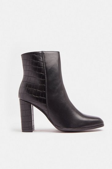 Black Croc Panel Heeled Boot