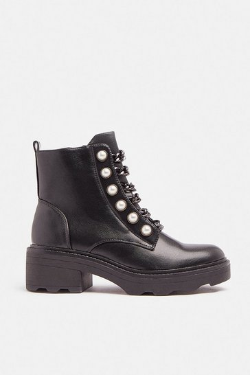 Black Pearl And Chain Detail Biker Boots