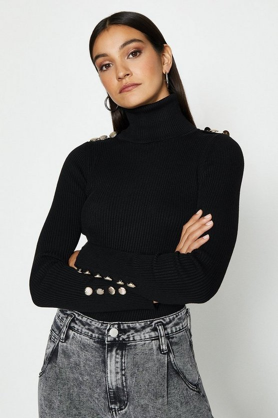 Black High Neck Button Shoulder Detail Knit Top