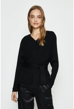 Black Knitted Off The Shoulder Top