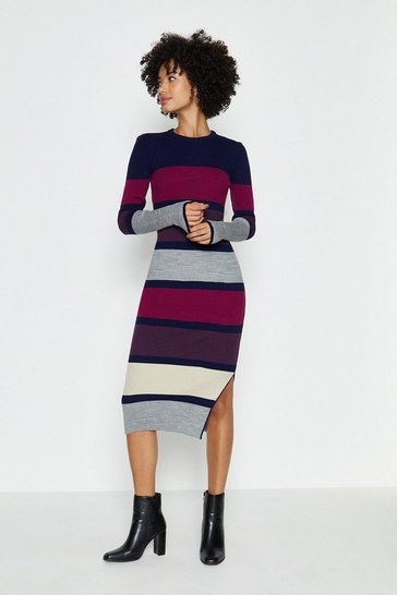 Multi Long Sleeve Stripe Knitted Midi Dress