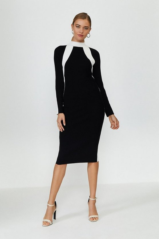 Mono Long Sleeve Knitted Funnel Neck Dress