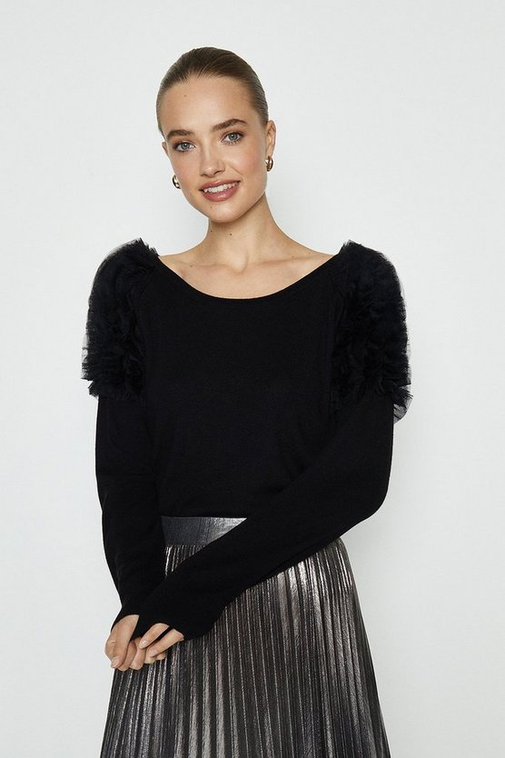 Black Mesh Ruffle Shoulder Jumper