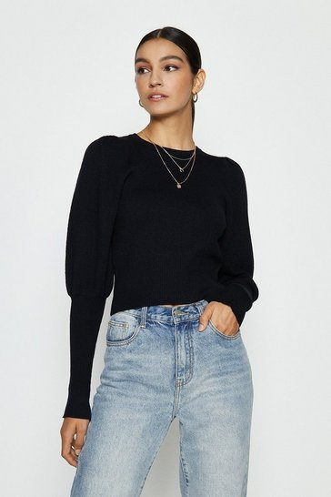 Black Crew Neck Skinny Cuff Jumper