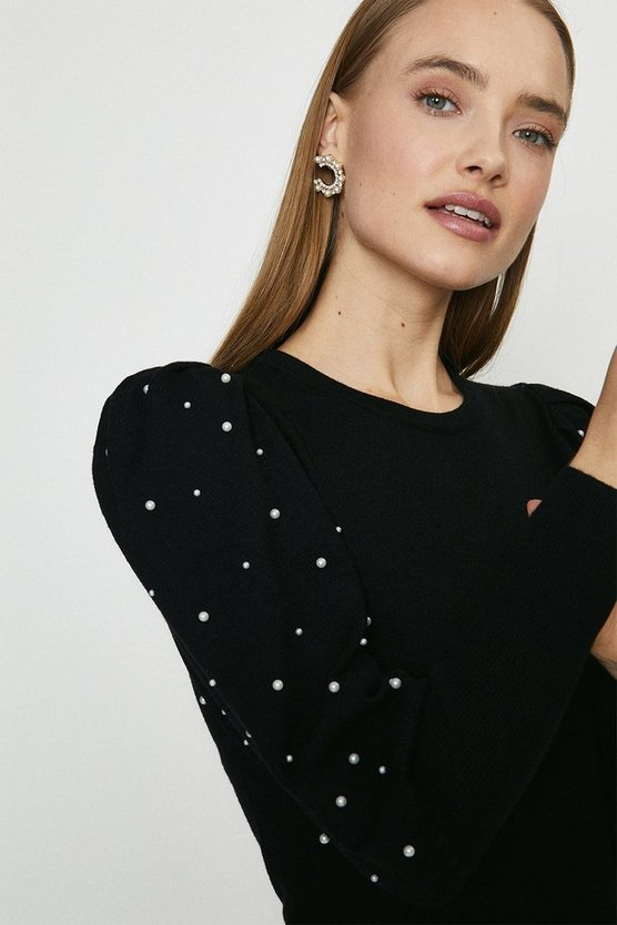 Black Pearl Embellished Puff Sleeve Jumper