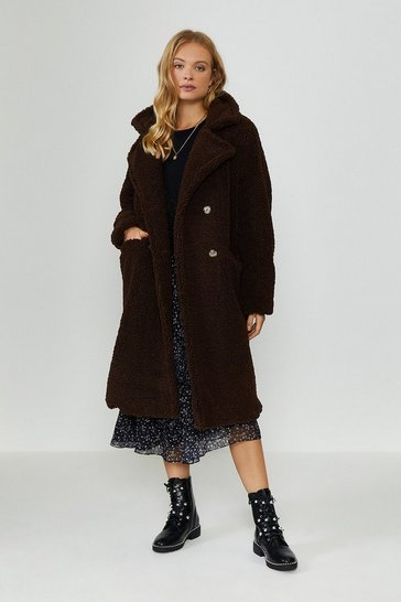 Chocolate Double Breasted Maxi Teddy Coat
