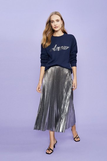 Navy Amour Foil Sweatshirt