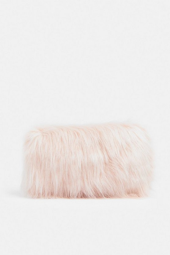 Blush Faux Fur Shoulder Bag