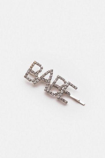 Silver Babe Slogan Diamante Hair Slide