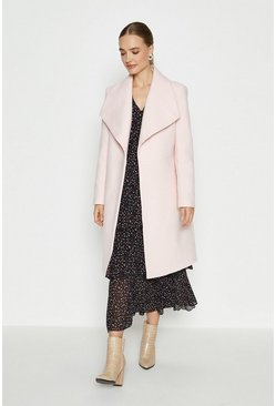 Blush Belted Wrap Coat