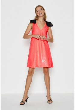 Coral Bow Shoulder Sequin Cami Dress