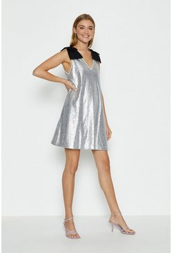 Silver Bow Shoulder Sequin Cami Dress