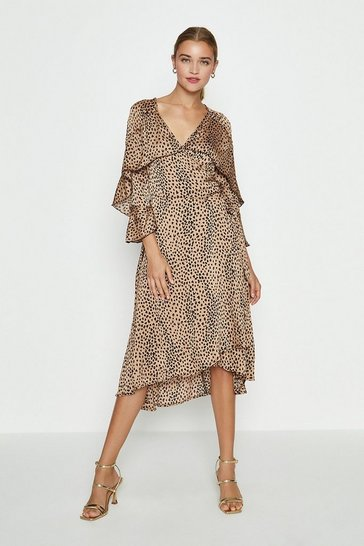 Brown Cape Sleeve Printed Midi Dress