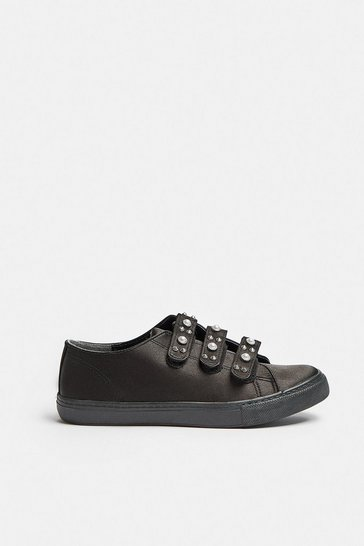 Black Embellished Strap Trainers