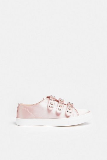 Blush Embellished Strap Trainers