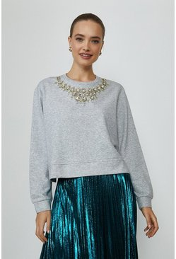 Grey Jewelled Sweatshirt