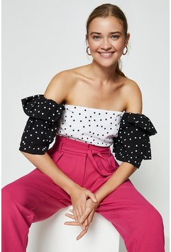 Mono Mix and Match Spot Ruffle Sleeve Top