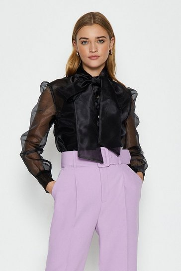 Black Pussy Bow Organza Blouse
