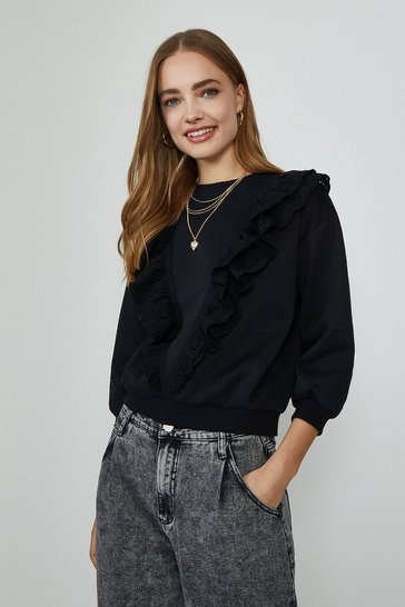 Black Ruffle Detail Sweatshirt