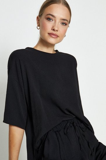 Black Slouchy Oversized Tee And Short Co-ord
