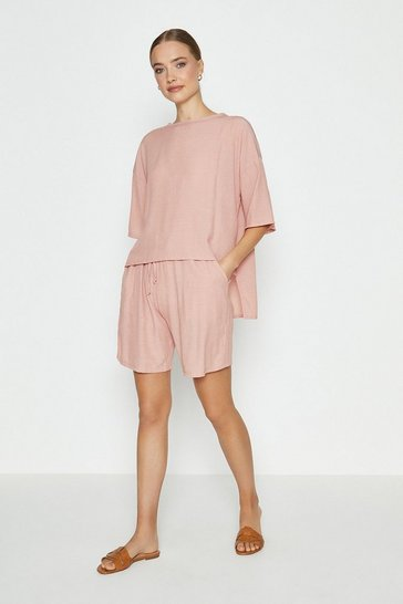 Coral Slouchy Oversized Tee And Short Co-ord