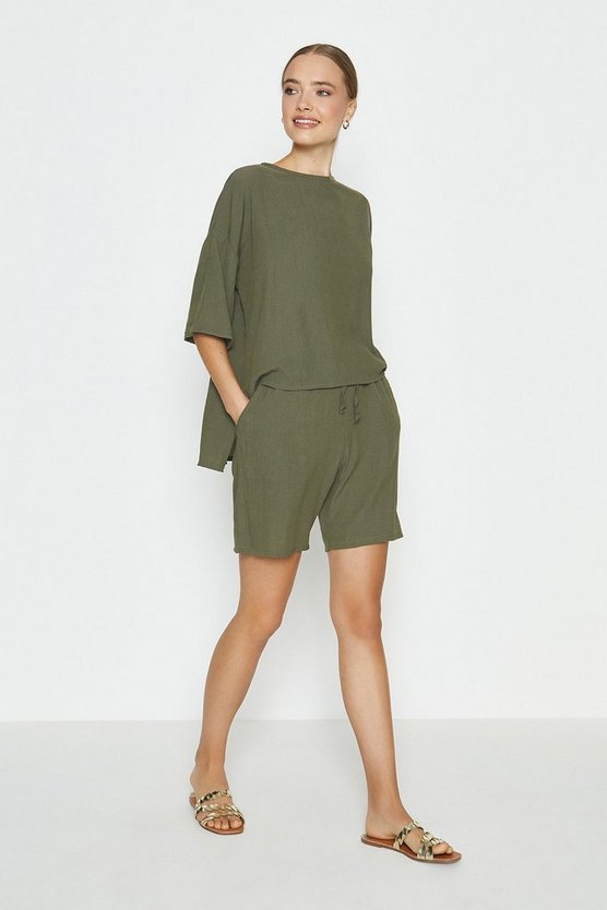 Khaki Slouchy Oversized Tee And Short Co-ord