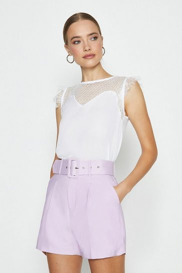 White Mesh Yoke Detail Top