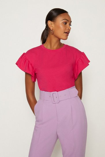Purple Ruffle Sleeve T-Shirt
