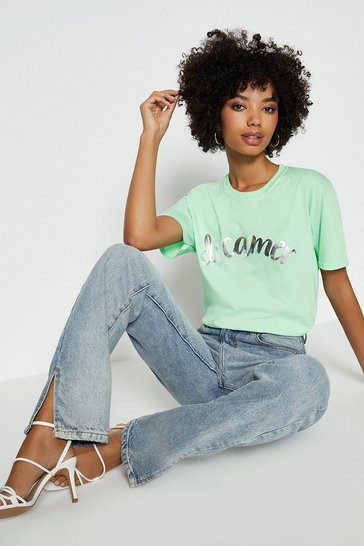 Mint Metallic Foil Dreamer Slogan T-Shirt
