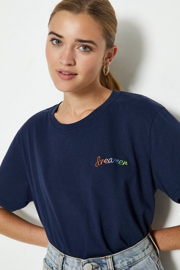 Navy Dreamer Rainbow Embroidered T-shirt