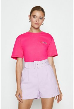 Pink Dreamer Rainbow Embroidered T-shirt