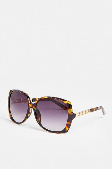 Brown Gold Arm Detail Oversized Sunglasses