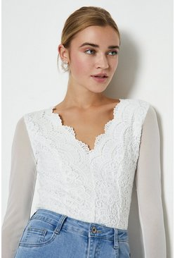 White Mesh Sleeve Lace Body