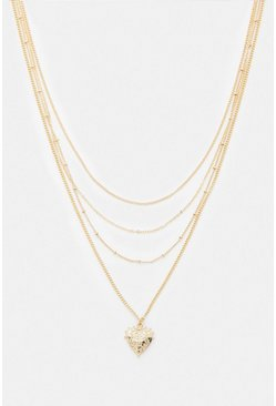 Gold Love Heart Layered Necklace
