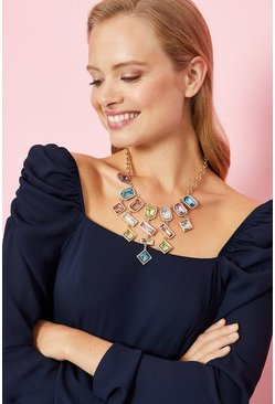 Gold Pastel Gem Statement Necklace