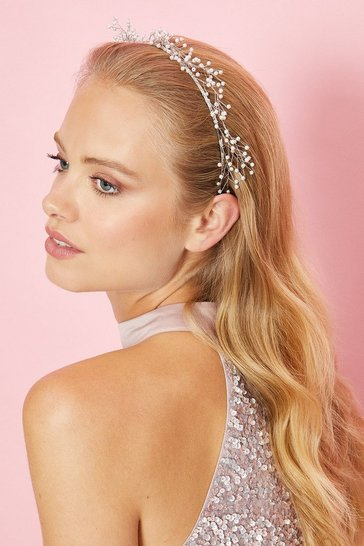 Silver Pearl And Wire Metal Headband
