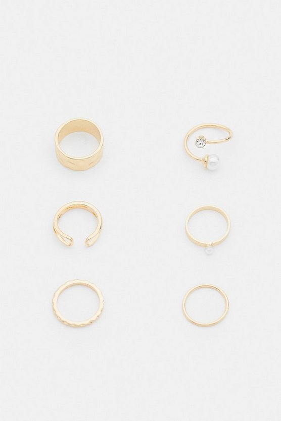 Gold 6 Pack Diamante and Pearl Ring Set