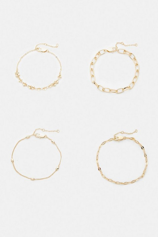 Gold Chain Bracelets 4 Pack