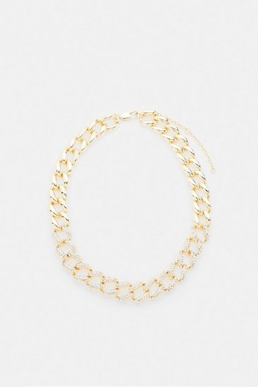 Gold Diamante Embellished Chunky Chain Necklace