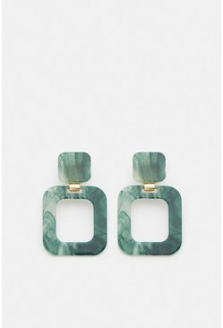 Green Marble Effect Resin Statement Earrings