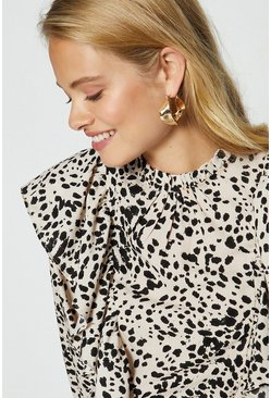 Gold Abstract Chunky Hoop Earrings