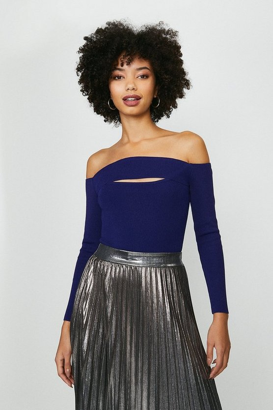 Midnight Knitted Rib Bardot Peep Hole Top
