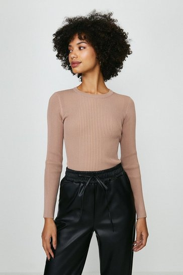 Mink  Long Sleeve Knitted Rib Crew Neck Top