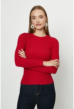 Red  Long Sleeve Knitted Rib Crew Neck Top