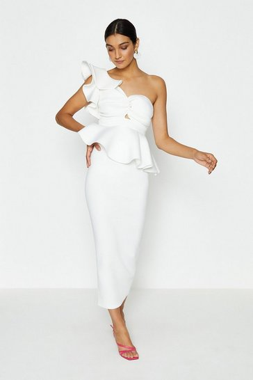 White Scuba Ruffle Peplum Top and Skirt Co Ord