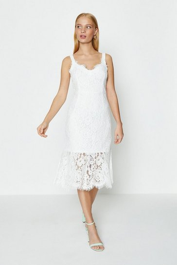 Ivory Lace Frill Hem Midi Dress