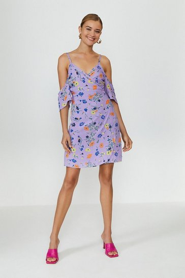 Purple Cold Shoulder Wrap Dress