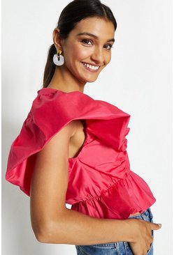 Hot pink Deep V-Neck Poplin Peplum Top