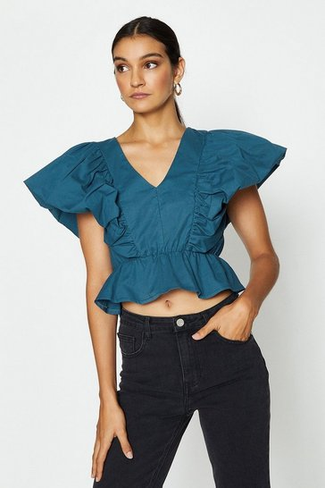 Teal Deep V-Neck Poplin Peplum Top